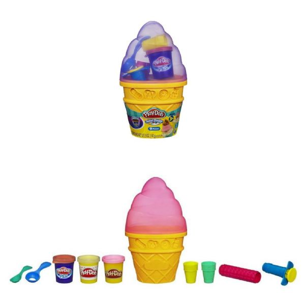 Play Doh Playdoh Sweet Shoppe Ice Cream Cone - includes 3 x Play Doh Pots